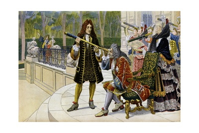 King Louis XIV and Court Ladies Watch a Solar Eclipse at Chateau De Marly Giclee Print by Maurice Leloir