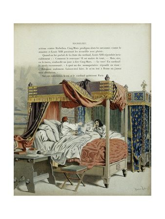 Lying in their Beds, Dying Richelieu Reveals Plot of Cinq-Mars to Louis XIII Giclee Print by Maurice Leloir