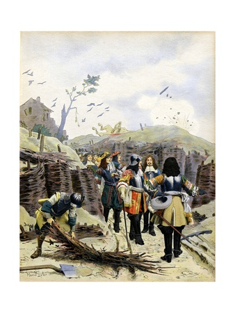 King Louis XIV Inspects Trenches in Lille During the War of Devolution (1667–68) Giclee Print by Maurice Leloir