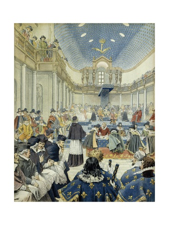 Richelieu Speaking at Estates General Supporting Clergy, 1614 Giclee Print by Maurice Leloir