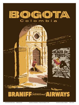 Bogota, Colombia - Bullfighting Bullring - Braniff International Airways Art by  Pacifica Island Art