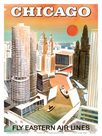 Chicago, USA - Marina City, Chicago River - Fly Eastern Airlines Posters av  Pacifica Island Art