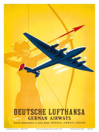 Deutsche Lufthansa German Airways - Female Archer Posters by Willy Hanke