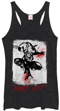 Juniors Tank Top: Black Cat- Ready To Punce T-shirts