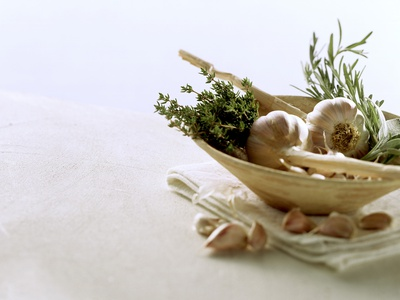 Still Life with Garlic and Various Fresh Herbs Photographic Print by Klaus Arras
