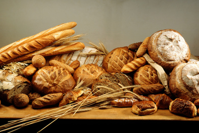 Assorted Baked Goods and Cereal Ears (Free-Standing) Photographic Print by  Rauzier-Riviere