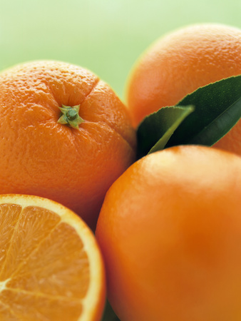 Oranges with Leaves Close Up Photographic Print by Leigh Beisch