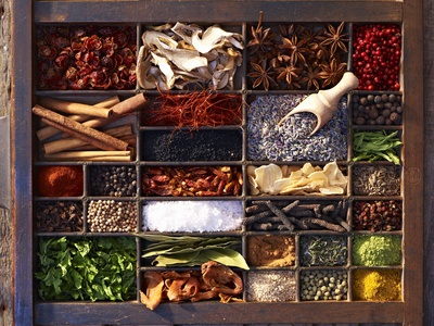 Various Spices in a Type Case Photographic Print by Oliver Brachat