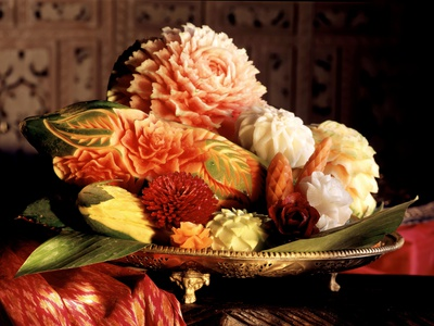 Flowers Carved from Fruit and Vegetables in a Bowl Photographic Print by  Eising Studio Food Photo and Video