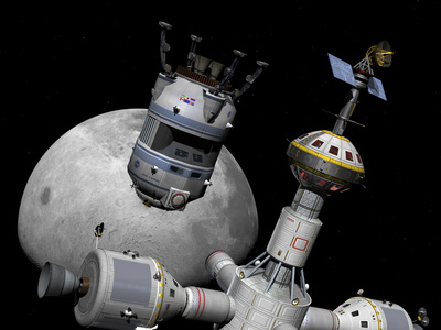 A Reusable Lunar Shuttle Prepares to Dock with a Lunar Cycler Prints by  Stocktrek Images