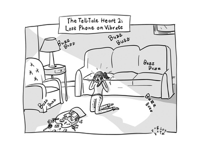 Tell-Tale Heart 2: Lost  Phone on Vibrate -- a hysterical woman searches h... - New Yorker Cartoon Giclee Print by Farley Katz