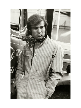 Man in Striped Denim Jumpsuit and Bandana Leaning Against a Truck with a Cigarette Giclee Print by Bruce Weber