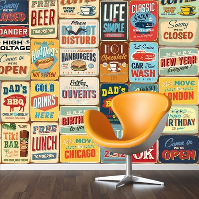 Vintage Metal Ads - 30 Piece Wallpaper Collage Wallpaper Mural