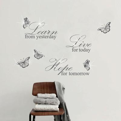 Learn Live Hope Quote with Swarovski Accents Vinilo decorativo