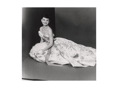 Audrey Hepburn, Age 22, Wearing Gown of Bianchini Silk Taffeta by Adrian Giclee Print by Richard Rutledge