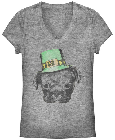 Juniors: Irish Puppy V-Neck Shirt