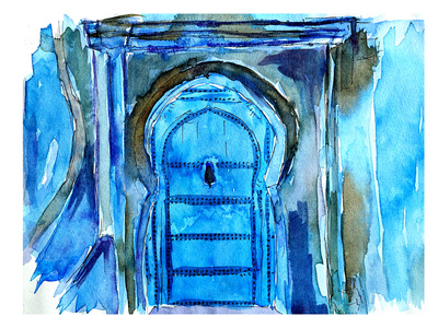 Chefchaouen Morocco Blue Door Prints by M Bleichner