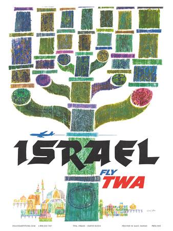 Israel - Fly TWA (Trans World Airlines) - Menorah Print by David Klein