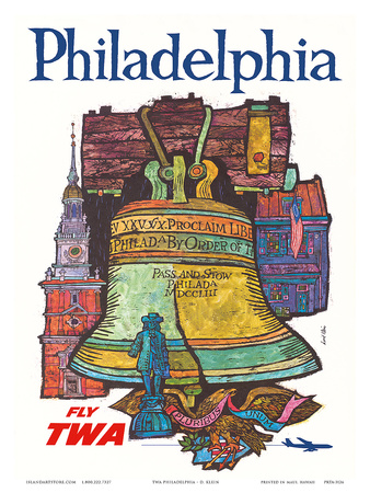 Philadelphia - Fly TWA (Trans World Airlines) - Liberty Bell at Independence Hall Posters by David Klein
