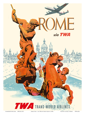 Rome Italy - via TWA (Trans World Airlines) - Fountain of Neptune Posters by David Klein