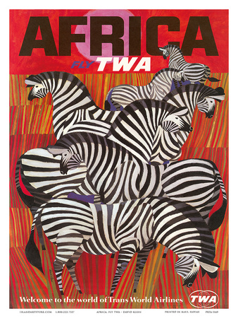 Africa - Fly TWA (Trans World Airlines) - Zebras Prints by David Klein