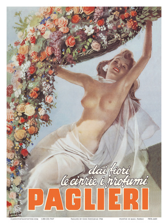 From the Flowers come the Powders and Scents of Paglieri - Authentic Essence Perfume Posters by Gino Boccasile