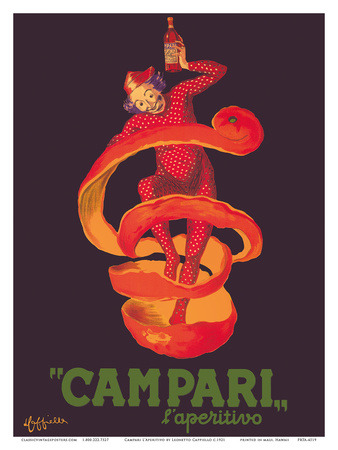 Campari L'Aperitivo (Campari Aperitif) - Clown Wrapped in Orange Peel Prints by Leonetto Cappiello