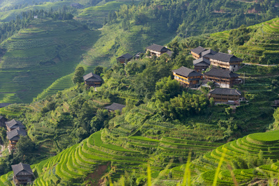Village House and Rice Terraces in the Mountain, Longsheng, China Photographic Print by Keren Su