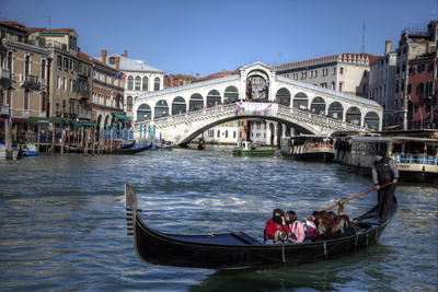 Gondola Grand Canal with Rialto Bridge in Background, Venice, Italy Photographic Print by Darrell Gulin