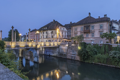 Slovenia, Ljubljana, Cobbler's Bridge at Dawn Photographic Print by Rob Tilley