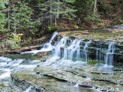 Michigan, Lower Au Train Falls, Autumn Waterfall in Upper Michigan Photographic Print by Julie Eggers