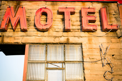 Neon Motel Sign, Pacific, Missouri, USA. Route 66 Photographic Print by Julien McRoberts