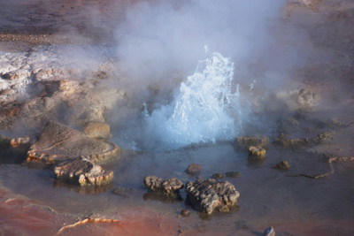 Fumarole Erupting at El Tatio Geyser in the Atacama, Chile Photographic Print by Mallorie Ostrowitz