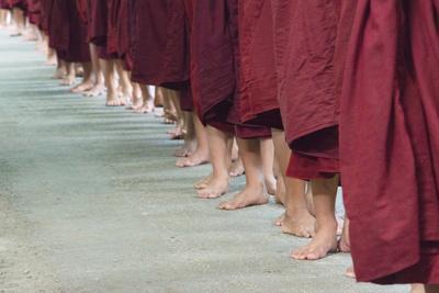 Monks Waiting in Line at Mahagandayon Monastery, Amarapura, Myanmar Photo by Keren Su
