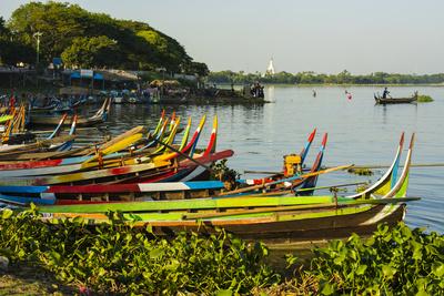 Myanmar. Mandalay. Amarapura. Taungthaman Lake. Colorful Boats Photo by Inger Hogstrom