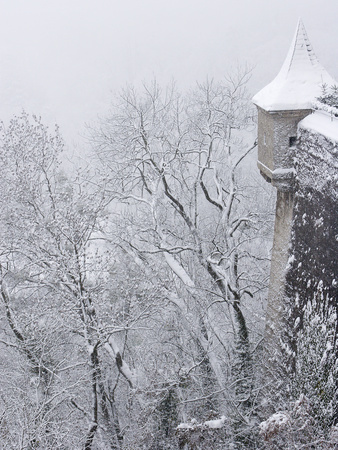 Austria, Salzburg. Part of Salzburg Castle Wall in the Winter Photo by Bill Young