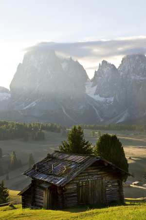 Cabins, Seiser Alm Sassolungo, Alpe di Siusi, South Tyrol, Italy Photo by Peter Adams