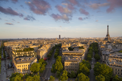 Evening Sunlight over the Eiffel Tower and Buildings of Paris, France Photo by Brian Jannsen