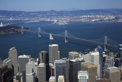 California, Aerial of Downtown San Francisco and Bridges Photo by David Wall