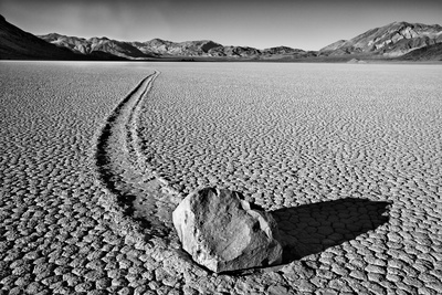 USA, California, Death Valley NP. Sliding Rock at the Racetrack Photo by Dennis Flaherty