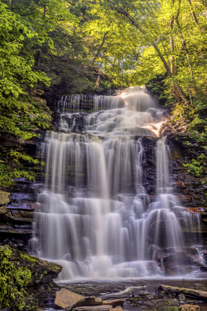 Pennsylvania, Benton, Ricketts Glen State Park. Ganoga Falls Cascade Photo by Jay O'brien