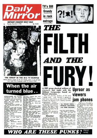 Sex Pistols- Daily Mirror Front Cover Posters