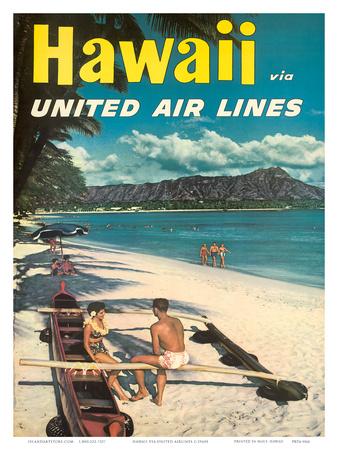 Hawaii - United Air Lines - Couple on Hawaiian Outrigger Canoe (Wa'a) Prints by  Pacifica Island Art