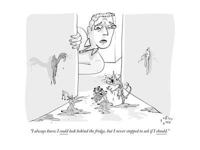 """""""I always knew I could look behind the fridge, but I never stopped to ask """" - New Yorker Cartoon Giclee Print by Farley Katz"""