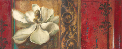 Red Eclecticism with Magnolia Art by Patricia Pinto