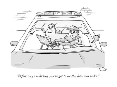 """""""Before we go to lockup, you've got to see this hilarious video."""" - New Yorker Cartoon Giclee Print by Farley Katz"""