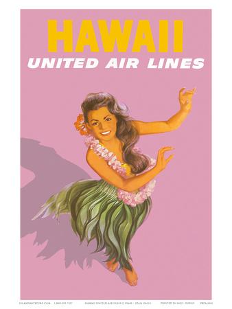 Hawaiian Hula Dancer - United Air Lines Prints by Stan Galli