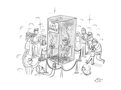 """(A man smokes cigarettes in a glass box with a sign that reads """"The Last S - New Yorker Cartoon Giclee Print by Farley Katz"""