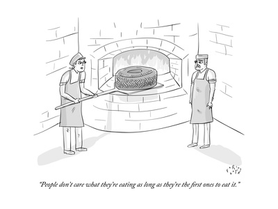 """""""People don't care what they're eating as long as they're the first ones t"""" - New Yorker Cartoon Giclee Print by Farley Katz"""