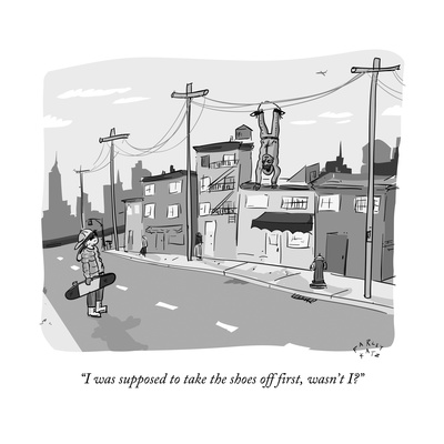 """""""I was supposed to take the shoes off first, wasn't I"""" - New Yorker Cartoon Giclee Print by Farley Katz"""